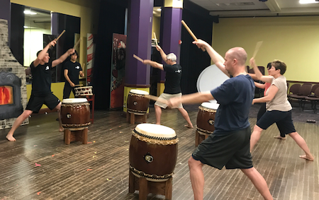 students in a Pittsburgh Taiko beginner session in 2017