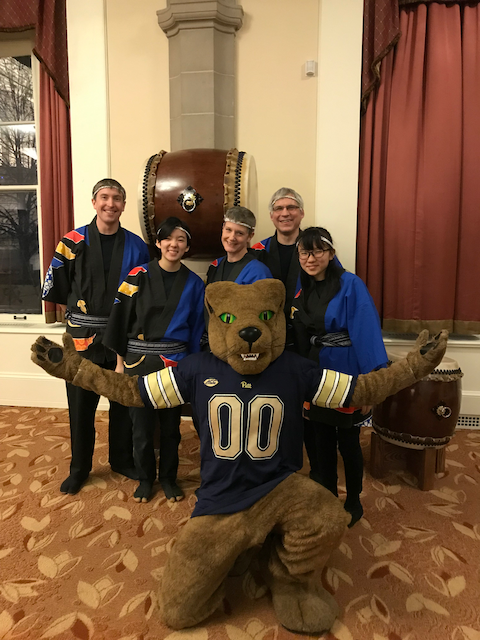 Posed photo with Roc the Pitt Panther mascot